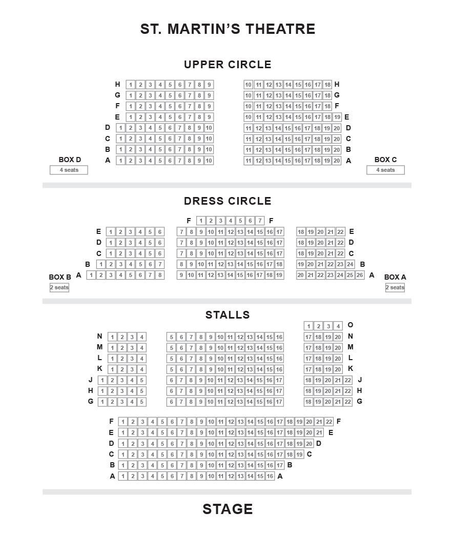 St Martin's Theatre seating plan